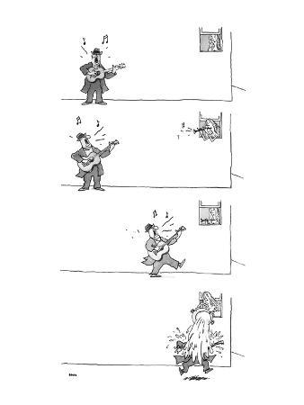 4-panel drawing of man playing guitar. Woman in window plays the horn; he … - New Yorker Cartoon