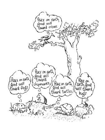 """Crow thinks, """"Peace on earth, good will toward crows."""" Frog thinks, """"Peace… - New Yorker Cartoon"""