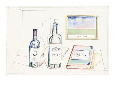 Bottles labeled, ST 78, Deja Bu, and book labeled Deja Lu, on desk with pi… - New Yorker Cartoon