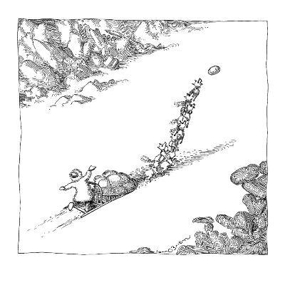 A dog sled team is prompted forward by a Frisbee thrown ahead of it. - New Yorker Cartoon