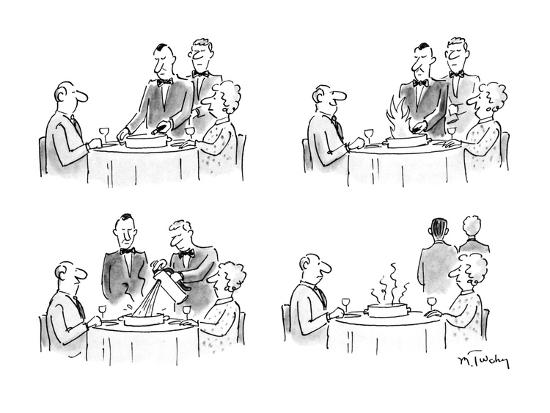 Four Panel Drawing Of A Waiter Lighting A Flambe At A Restaurant