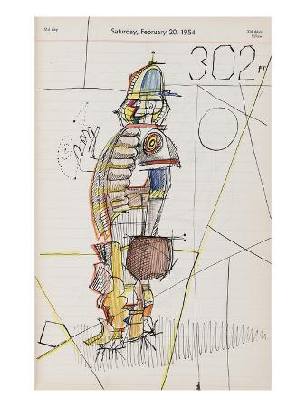 Drawing of male figure in baseball attire on calendar page. - New Yorker Cartoon