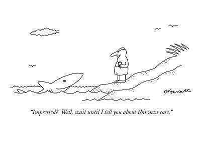 """""""Impressed?  Well, wait until I tell you about this next case."""" - New Yorker Cartoon"""