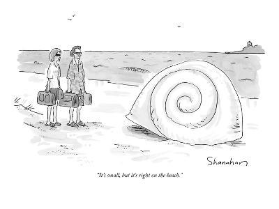 """""""It's small, but it's right on the beach."""" - New Yorker Cartoon"""