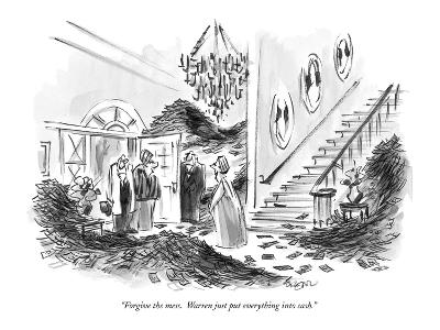 """Forgive the mess.  Warren just put everything into cash."" - New Yorker Cartoon"