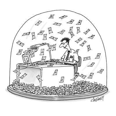 Computer geek sits inside snow globe. Instead of snow, money is falling al… - New Yorker Cartoon