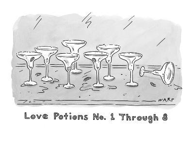 """Love Potions No. 1 Thru 8"". Eight empty margarita glasses. - New Yorker Cartoon"