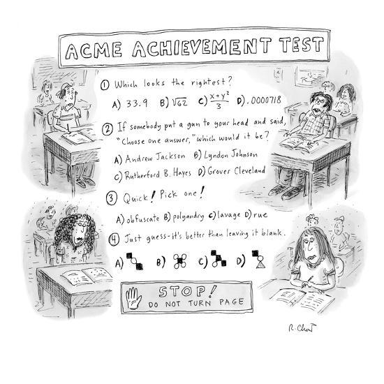 Standardized test with vague questions and answers  - New Yorker Cartoon