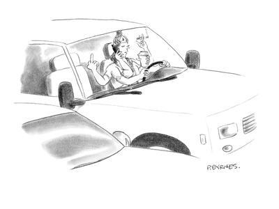 A Hindu god with six arms multi-tasks while driving. - New Yorker Cartoon