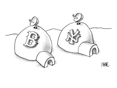 Two neighboring igloos have satellite dishes.  One has a Boston Red Sox lo… - New Yorker Cartoon