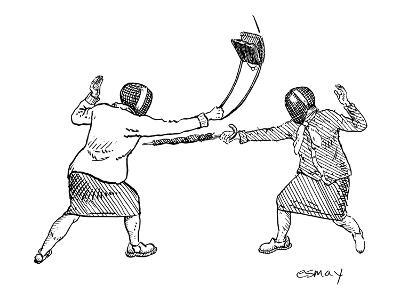 Two women in fencing masks dueling with an umbrella and a purse. - New Yorker Cartoon