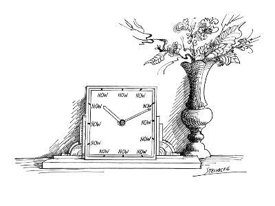 A clock has 'NOW' printed where each of the numbers should be. Beside it i… - New Yorker Cartoon