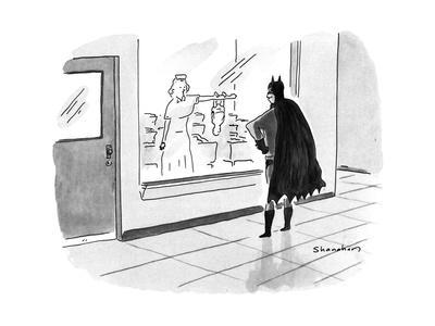 Batman watching through the maternity ward window as his newborn infant cl… - New Yorker Cartoon