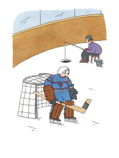 Hockey Goalie Stands In Front Of The Net While Man Ice Fishes