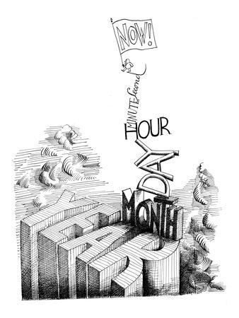 """Now! Second, Minute, Hour, Day, Month, Year"" - New Yorker Cartoon"