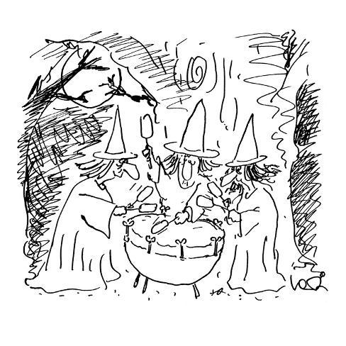 Three Witches Beating On A Kettle Drum Cartoon Premium Giclee