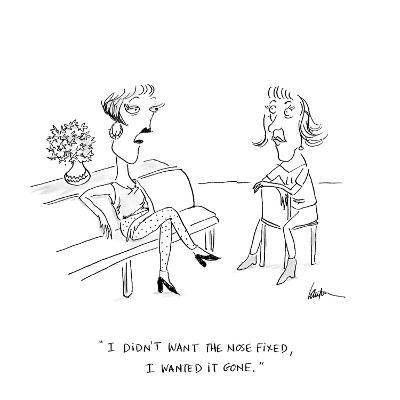 """""""I didn't want the nose fixed, I wanted it gone.""""  - Cartoon"""
