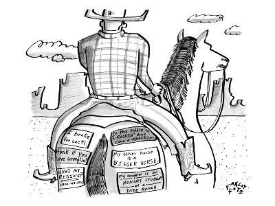 A cowboy rides a horse whose rear end is plastered with bumper stickers. - New Yorker Cartoon