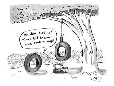 One tire finds another that has hung itself from a tree (becoming a tire-s… - New Yorker Cartoon