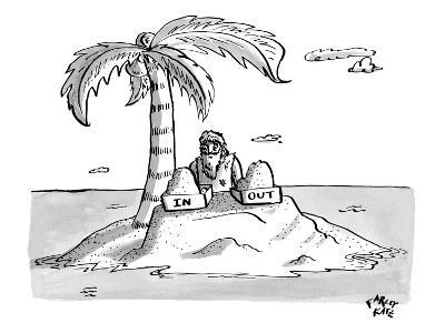"""A man sits on a deserted island with two boxes: one labelled """"In"""" and the … - New Yorker Cartoon"""