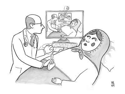 A doctor is seen giving an sonogram to a Russian doll, and the scene is re… - New Yorker Cartoon