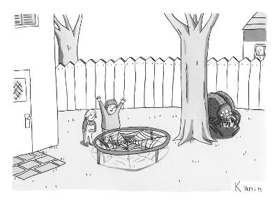 Two children excitedly look at a web disguised as a trampoline, while a sp… - New Yorker Cartoon