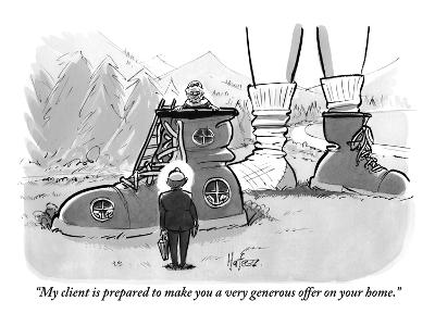 """""""My client is prepared to make you a very generous offer on your home."""" - New Yorker Cartoon"""