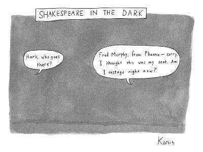 There is a dark scene with two word bubbles. - New Yorker Cartoon