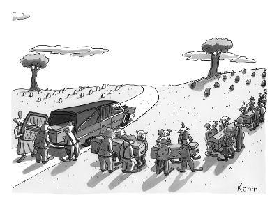 (In a cemetery, an impossible number of clown pallbearers come out of a he… - New Yorker Cartoon