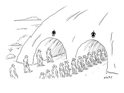 People are in line at two tunnels going through a cave: one is marked for … - New Yorker Cartoon