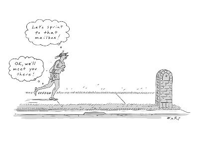 A woman is seen running while she and her legs are having two very differe… - New Yorker Cartoon