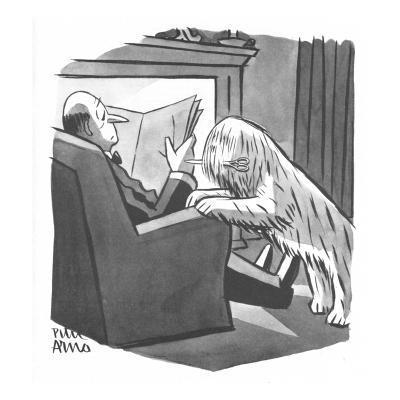 Sheepdog dog brings his master a pair of shears. - New Yorker Cartoon