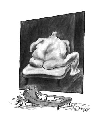 The patient on a couch being analyzed stares at a nude painting of a large… - New Yorker Cartoon