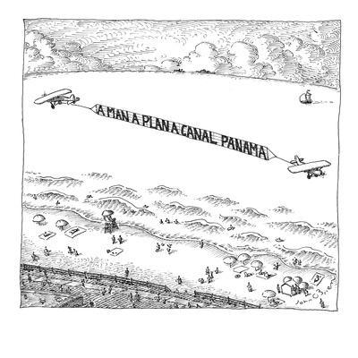 Palindromic sky-writer planes at the beach. - New Yorker Cartoon