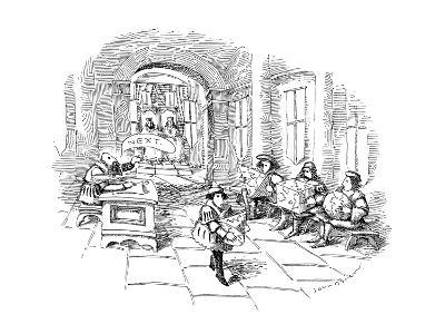 Several men sit in line at a sort of medieval patent office in a royal cou… - New Yorker Cartoon
