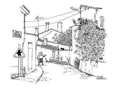 Rue de la Bonne Femme' has a woman with a loaf of French bread walking do…' - New Yorker Cartoon