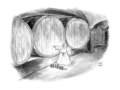 Monk in wine cellar plugging hole with his finger. - New Yorker Cartoon