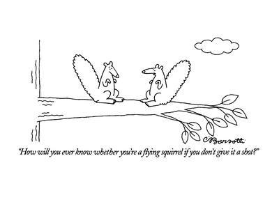 """How will you ever know whether you're a flying squirrel if you don't give…"" - New Yorker Cartoon"