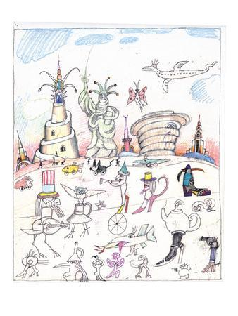 Steinbergian landscape populated with monuments, statues, and walking crea… - New Yorker Cartoon