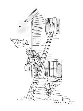 Man carrying woman down ladder to elope, sees teddy bear waving goodbye. - New Yorker Cartoon