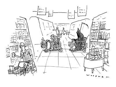 The Grim Reaper, chasing an elderly man, both in a motorized cart, through… - New Yorker Cartoon