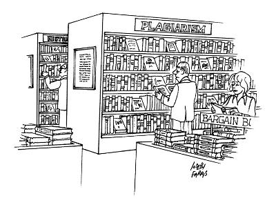 "Bookstore with ""plagiarism"" section. - New Yorker Cartoon"