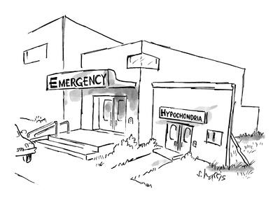 "Sign for hospital entrance reads: ""Emergency"", while next to it, a facade … - New Yorker Cartoon"