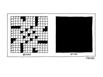 """Picture of crossword puzzle """"Before"""" and total blackness """"After"""". - New Yorker Cartoon"""