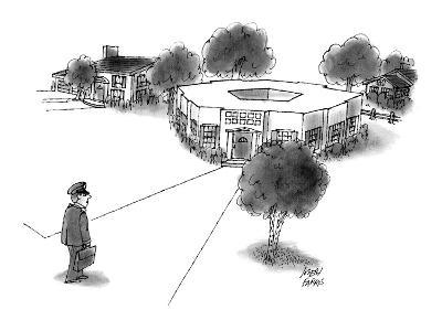 Military official comes home to Pentagon-shaped house. - New Yorker Cartoon