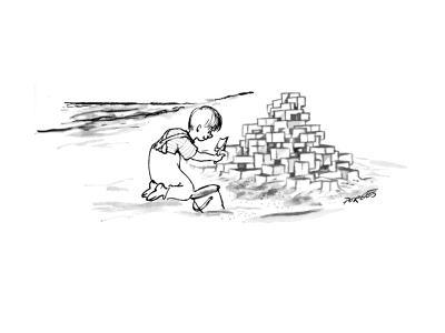 Child on beach is building Habitat '67 out of sand. - New Yorker Cartoon