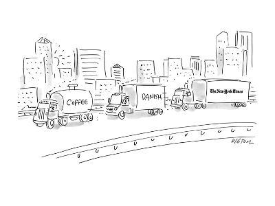 "Three trucks, one labeled ""Coffee"", the next ""Danish"" and the last ""The Ne… - New Yorker Cartoon"