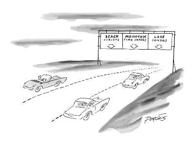 Three lanes of highway traffic:  Beach sublets;  Mountain Time Shares;  La… - New Yorker Cartoon