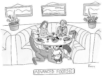 Man and woman embrace under restaurant table while holding their disguised… - New Yorker Cartoon