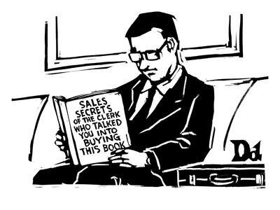 'A man in a suit reads a book with the title: Sales